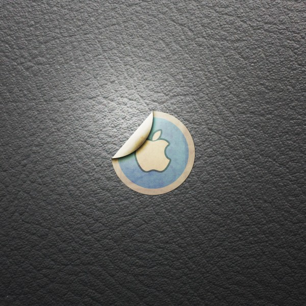 Apple Sticker on Plastic - iPad Wallpaper