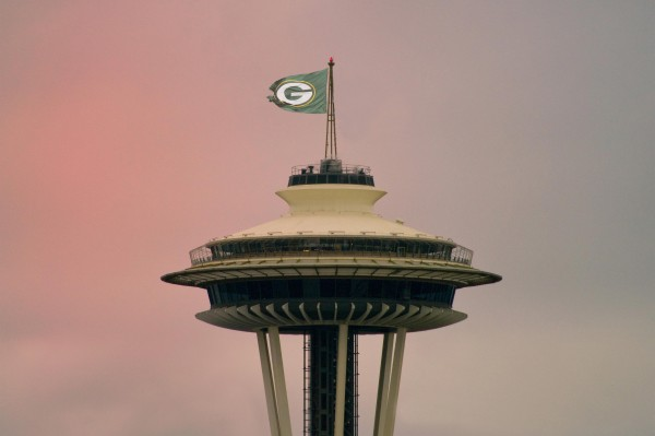 Green Bay Packers in Seattle at Dusk